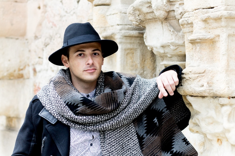 Fedora Hat & Blanket Scarf